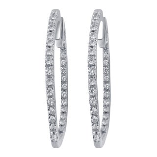 Divina 14k White Gold 1/2ct TDW Diamond Hoop Earrings (H-I,I1-I2)