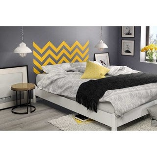 South Shore Step One Queen Platform Bed on Legs with Yellow Chevron Headboard Ottograff Wall Decal