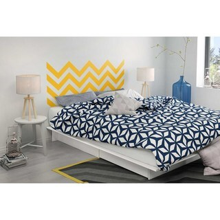 South Shore Step One Queen Storage Platform Bed with Yellow Chevron Headboard Ottograff Wall Decal