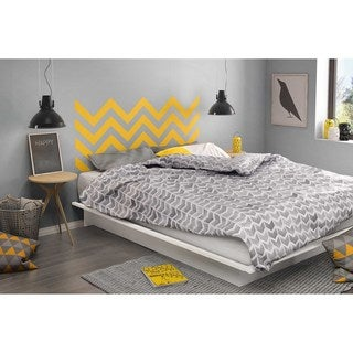 South Shore Step One Queen Platform Bed with Yellow Chevron Headboard Ottograff Wall Decal
