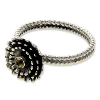 Handmade Sterling Silver 'November Chrysanthemum' Citrine Ring (Indonesia)