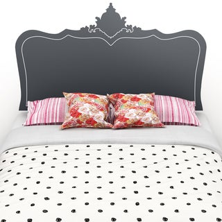 South Shore Step One Queen Platform Bed on Legs with Black Baroque Headboard Ottograff Wall Decal