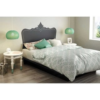 South Shore Step One Queen Platform Bed with Black Baroque Headboard Ottograff Wall Decal