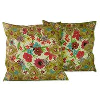 Handmade Set of 2 Embellished 'Floral Paradise' Cushion Covers (India)