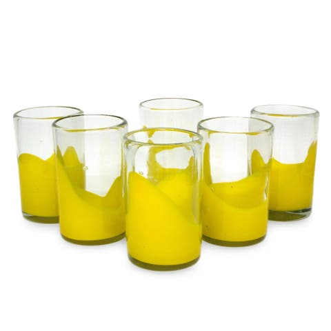 Handmade Set of 6 Blown Glass 'Yellow Splash' Juice Glasses (Mexico)