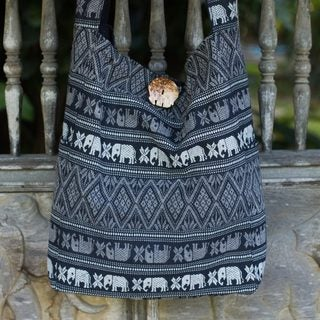 Handcrafted Cotton 'Elephant Shadow' Sling Bag (Thailand)