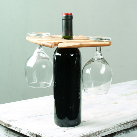 Handmade Teakwood 'Cheers' Wine Bottle and Glass Holder (Guatemala)