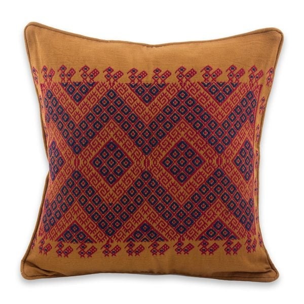 Handmade Cotton 'Traditional Symmetry' Cushion Cover (Guatemala)