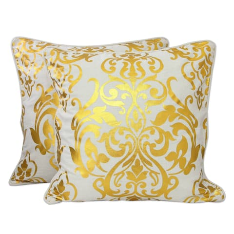 Handmade Golden Kaleidoscope Ivory Cotton with Metallic Gold Piped Edges Set of 2 Cushion Covers (India)