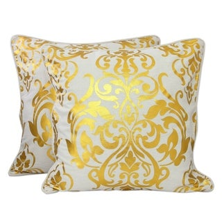 Golden Kaleidoscope 100% Ivory Cotton with Metallic Gold Piped Edges Zipper Decorator Accent Set of 2 Cushion Covers (India)