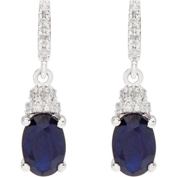 Viducci 10k White Gold Oval Gemstone And 1 8ct Tdw Diamond Drop Earrings G H