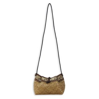 Natural Fiber 'Hill Tribe Elephants' Shoulder Bag (Thailand)