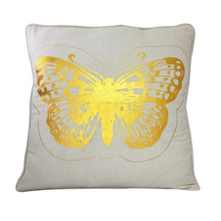 Set of 2 Cotton 'Golden Butterflies' Cushion Covers , Handmade in India