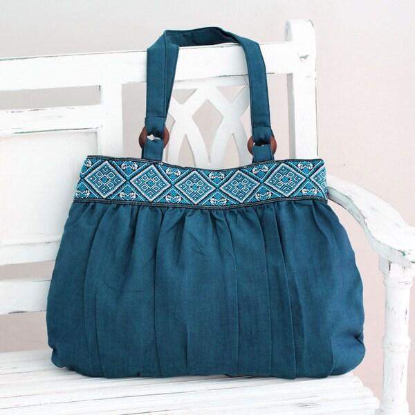 Handcrafted Cotton 'Assam Teal' Shoulder Bag (India)