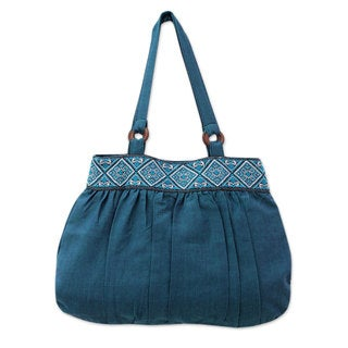 Handcrafted Cotton 'Assam Teal' Shoulder Bag (India)