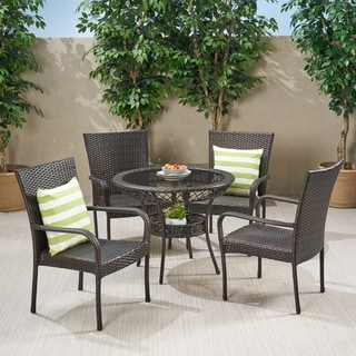 Littleton Outdoor Wicker 5 Piece Dining Set By Christopher Knight Home