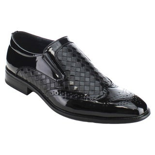 UV SIGNATURE UV005 Men's Side Gores Like Wing Tip Perforated Detailing Slip On Loafer