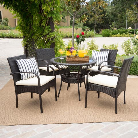 Charles Outdoor 5-piece Wicker Dining Set with Cushions by Christopher Knight Home
