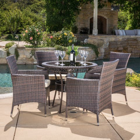 Kendricks Outdoor 5-piece Wicker Dining Set with Cushions by Christopher Knight Home