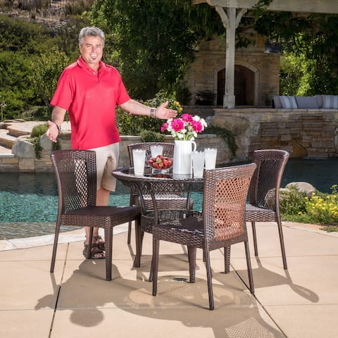Farley Outdoor 5-piece Wicker Dining Set by Christopher Knight Home