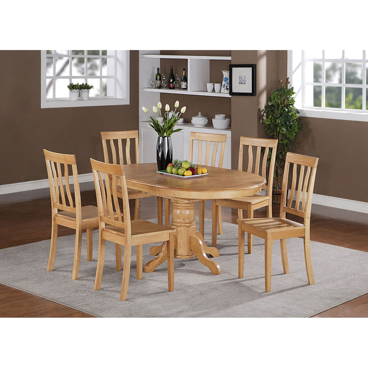 5-piece Oval Dining with Leaf and 4 Dining Chairs (Oak (B...