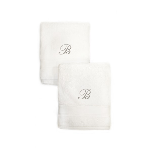 Authentic Hotel and Spa 2-piece White Turkish Cotton Hand Towels with Silver Script Monogrammed Initial