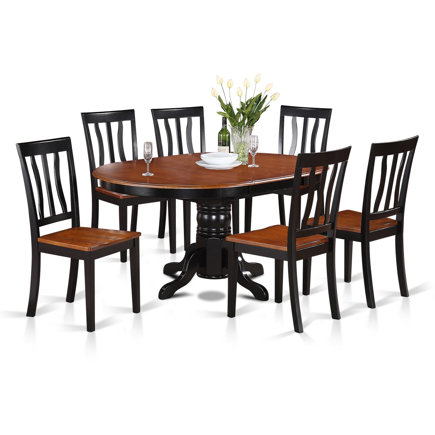 7-piece Oval Table with Leaf and 6 Solid Dining Chairs (B...