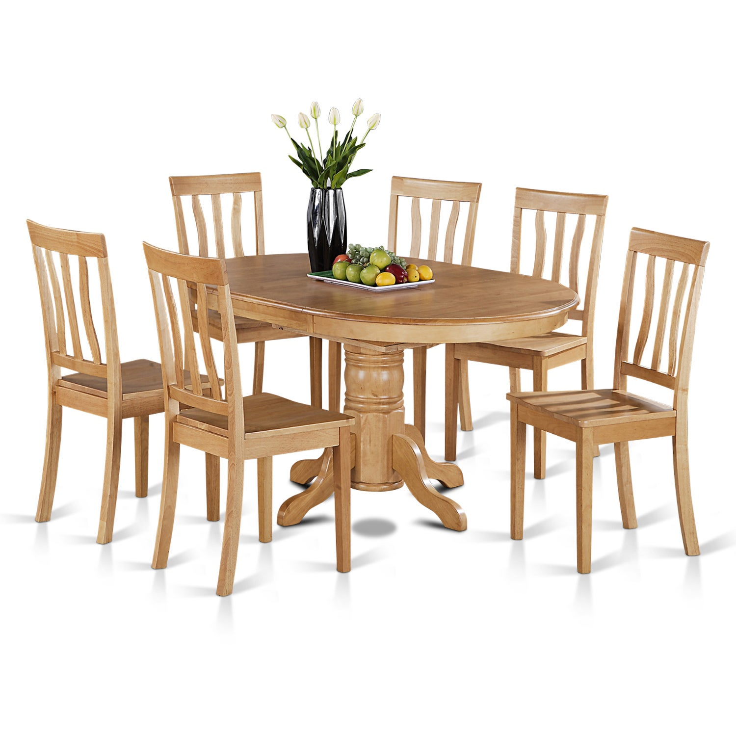 7-piece Oval Table with Leaf and 6 Solid Dining Chairs (O...