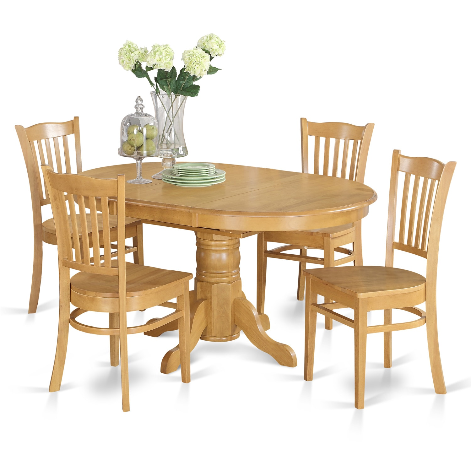 5-piece Dining Table Set For 4- Table with Leaf and 4 Din...