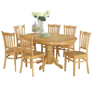 7-piece Formal Oval Dinette Table with Leaf and 6 Dining Chairs - Oak