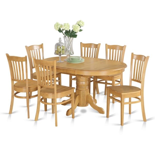 7 Piece Formal Oval Dinette Table With Leaf And 6 Dining Chairs   Oak
