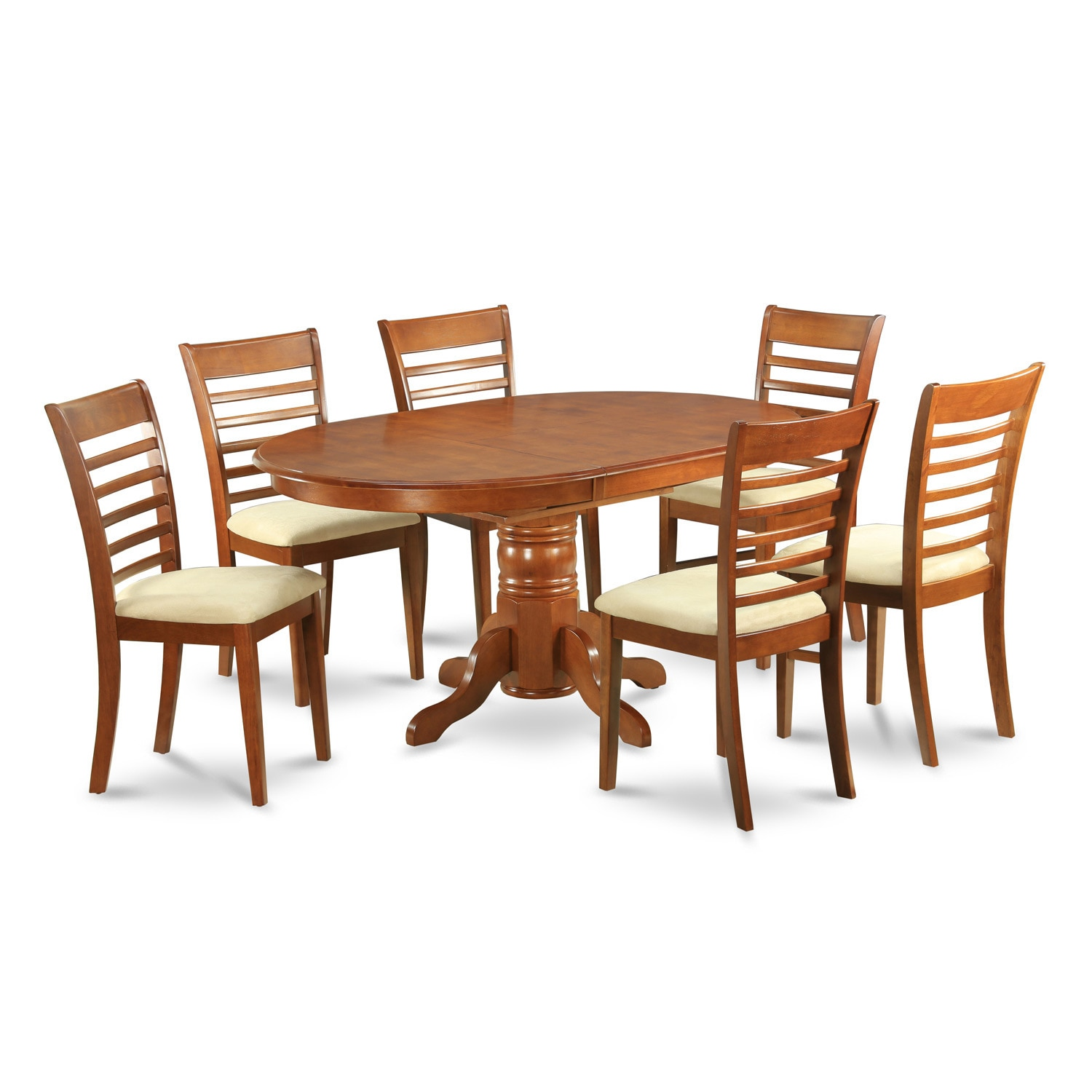 7-piece Dining Room Set-oval Dinette Table with Leaf and ...