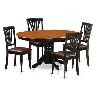 5-piece Dining Table Set For 4-oval Dinette Table with Leaf and 4 Dining Chairs