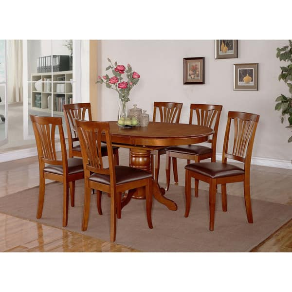 7 Piece Oval Dining Room Table With Leaf And 6 Chairs