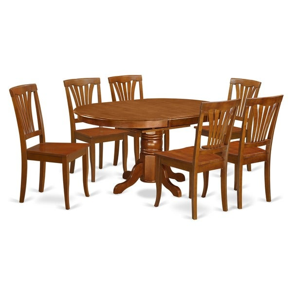7 Piece Oval Dining Room Table With Leaf And 6 Dining Chairs