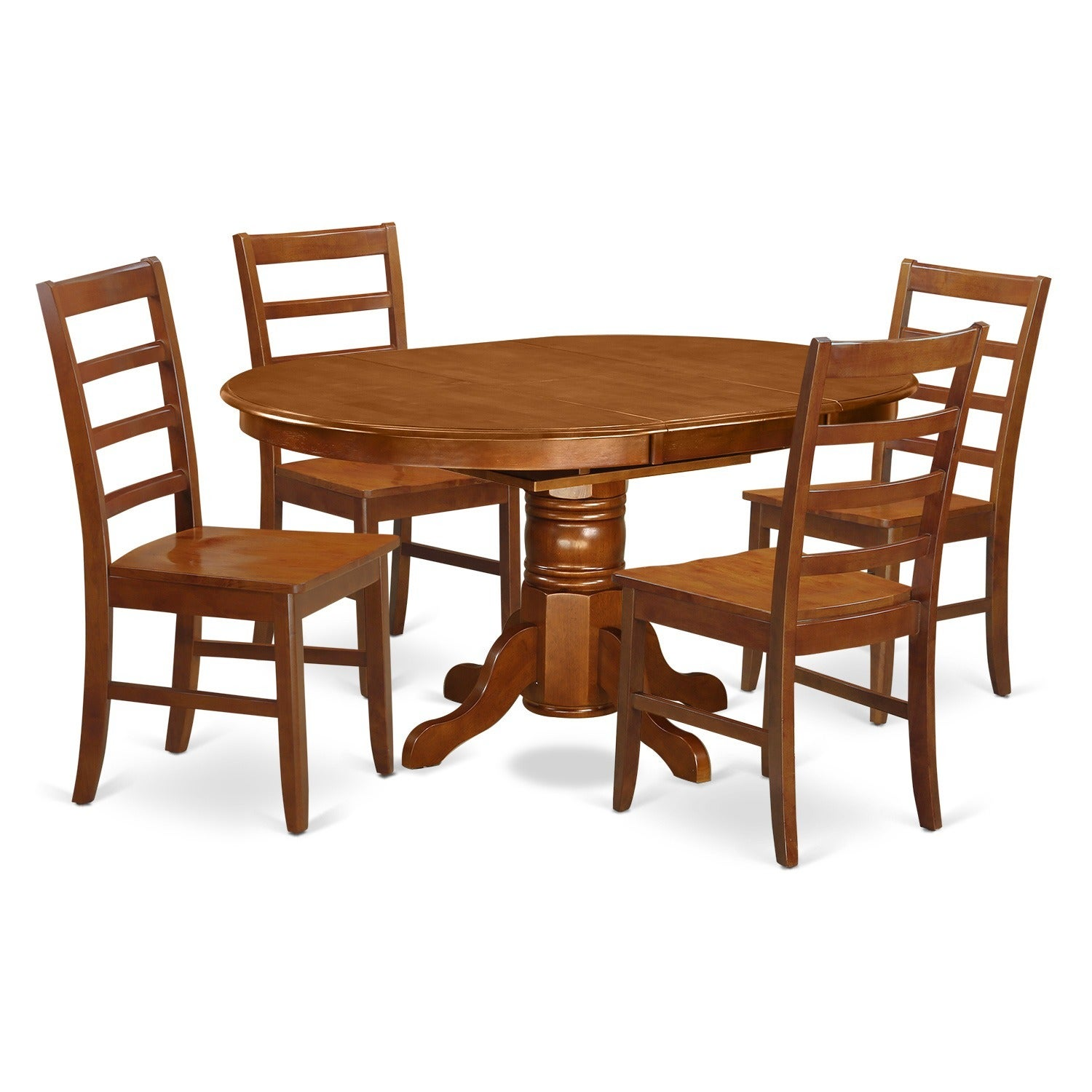 5-piece Dining Table with Leaf Plus 4 Dining Chairs (Sadd...