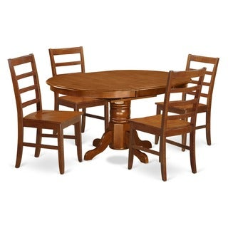 5-piece Dining Table with Leaf Plus 4 Dining Chairs