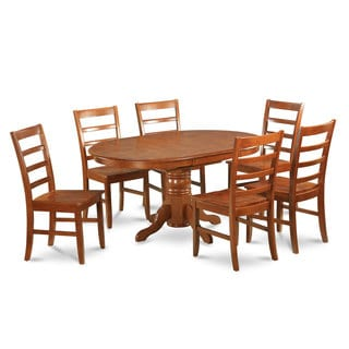 7-piece Oval Dinette Table with Leaf with 6 Dining Chairs