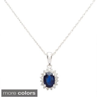 Viducci 10k White Gold Gemstone and 1/6ct TDW Diamond Necklace (G-H, I1-I2)