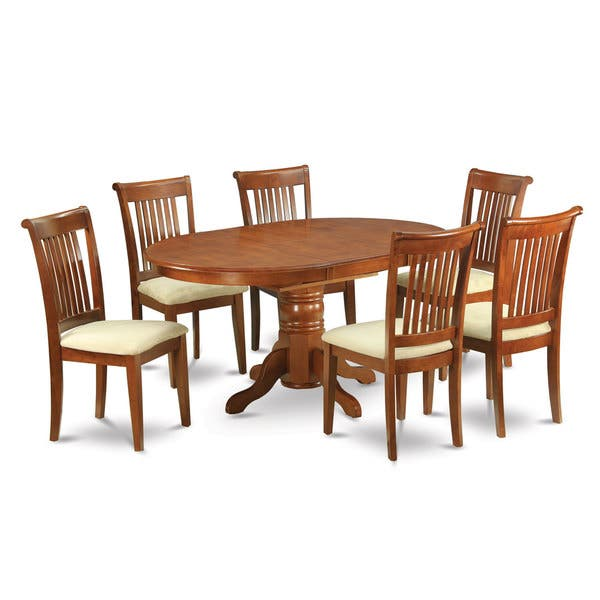 Oval 7-piece Dining Table with Leaf and 6 Chairs