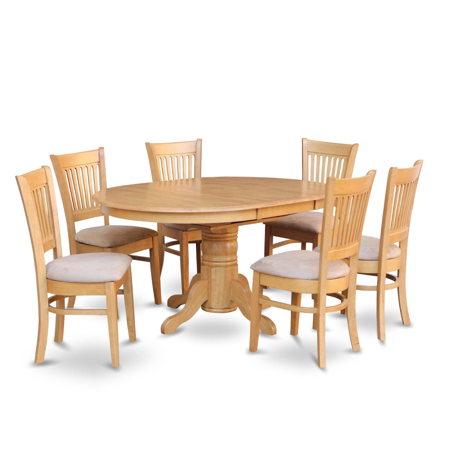 dining table with leaf and 6 dinette chairs 7 piece rubberwood