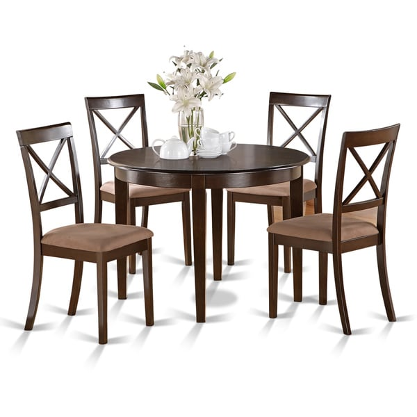 shop small 5 piece round table and 4 dining chairs free shipping today 10296426. Black Bedroom Furniture Sets. Home Design Ideas