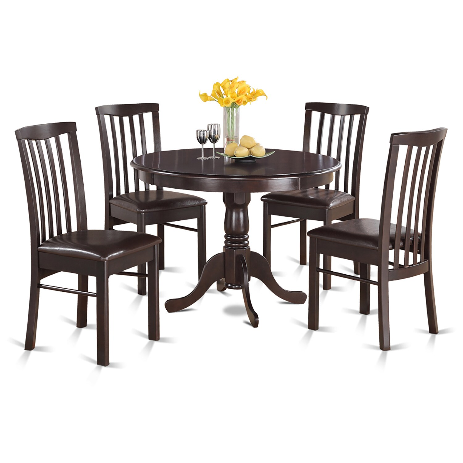 5-piece Dining Table Round Table and 4 Dining Chairs (Fau...