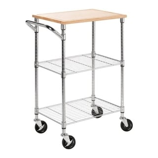 Urban Chrome 2-shelf Rolling Cart