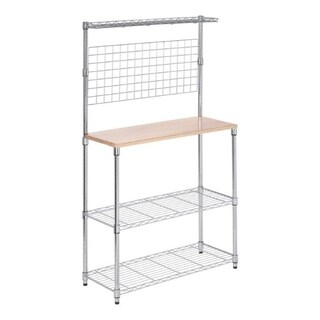 Honey Can Do 61-1/4 in. H x 35-3/4 in. W x 14-1/4 in. L Baker's Rack Silver