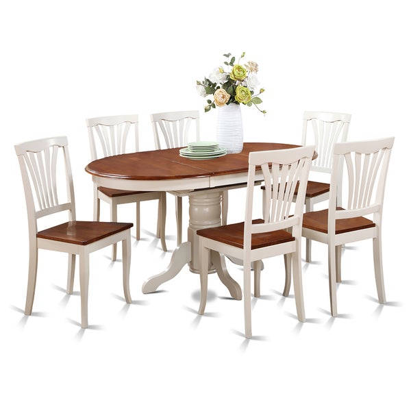 7 piece oval dining room table with leaf and dining chairs