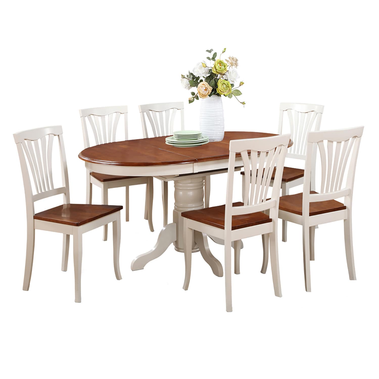 7-piece Oval Dining Room Table with Leaf and Dining Chair...