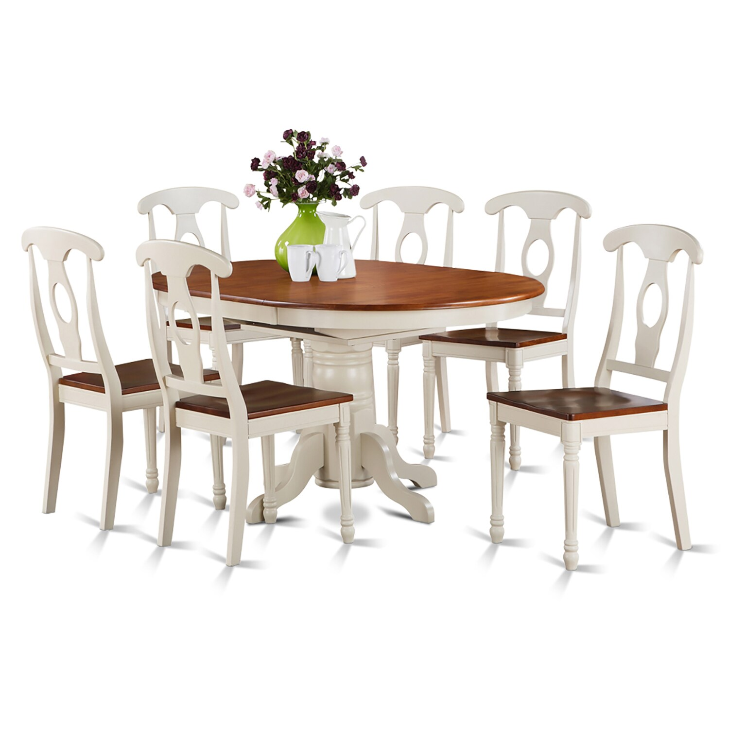7-piece Oval Dining Table and 6 Dining Chairs (Buttermilk...