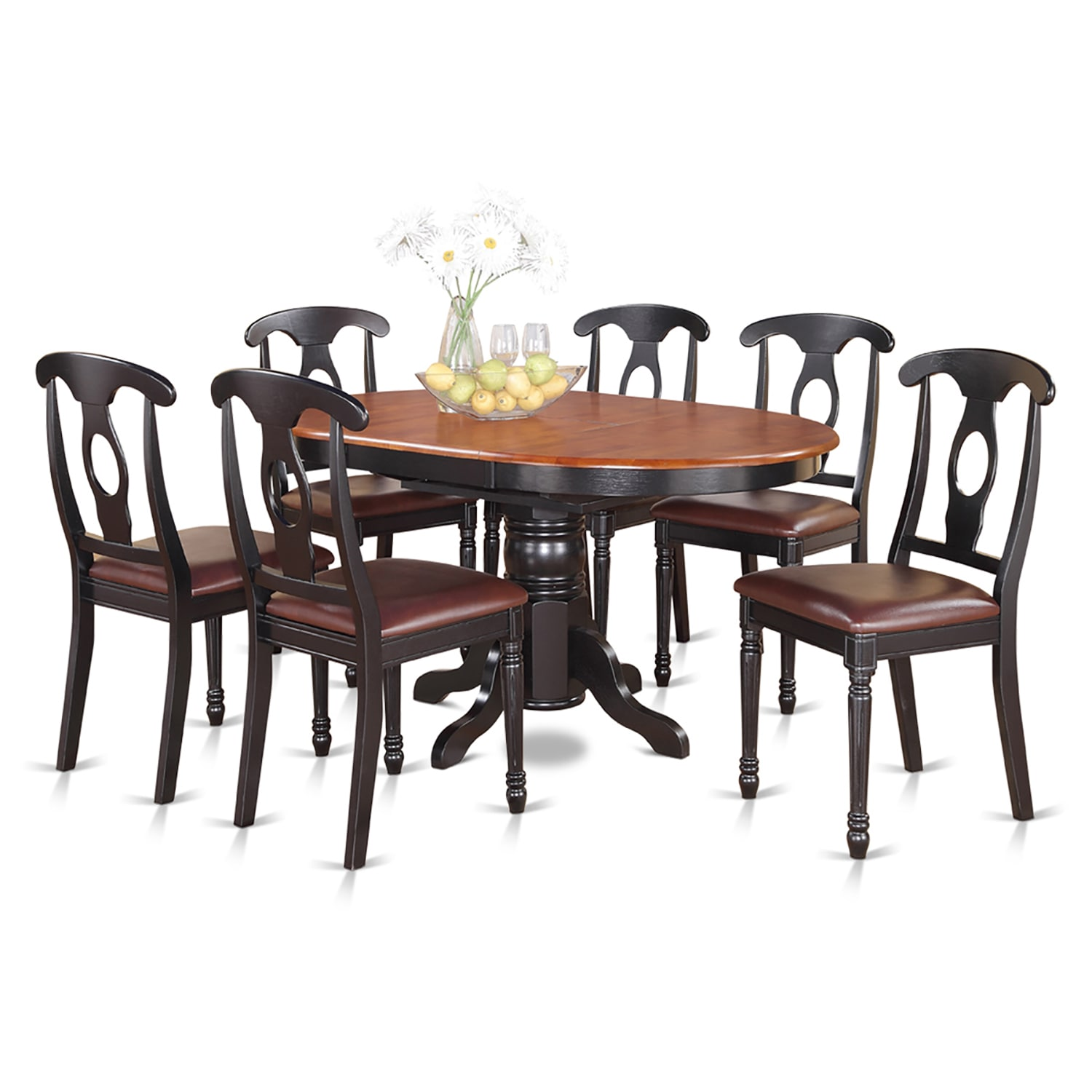 Excellent 7 Piece Pedestal Oval Dining Table And 6 Dining Chairs Theyellowbook Wood Chair Design Ideas Theyellowbookinfo