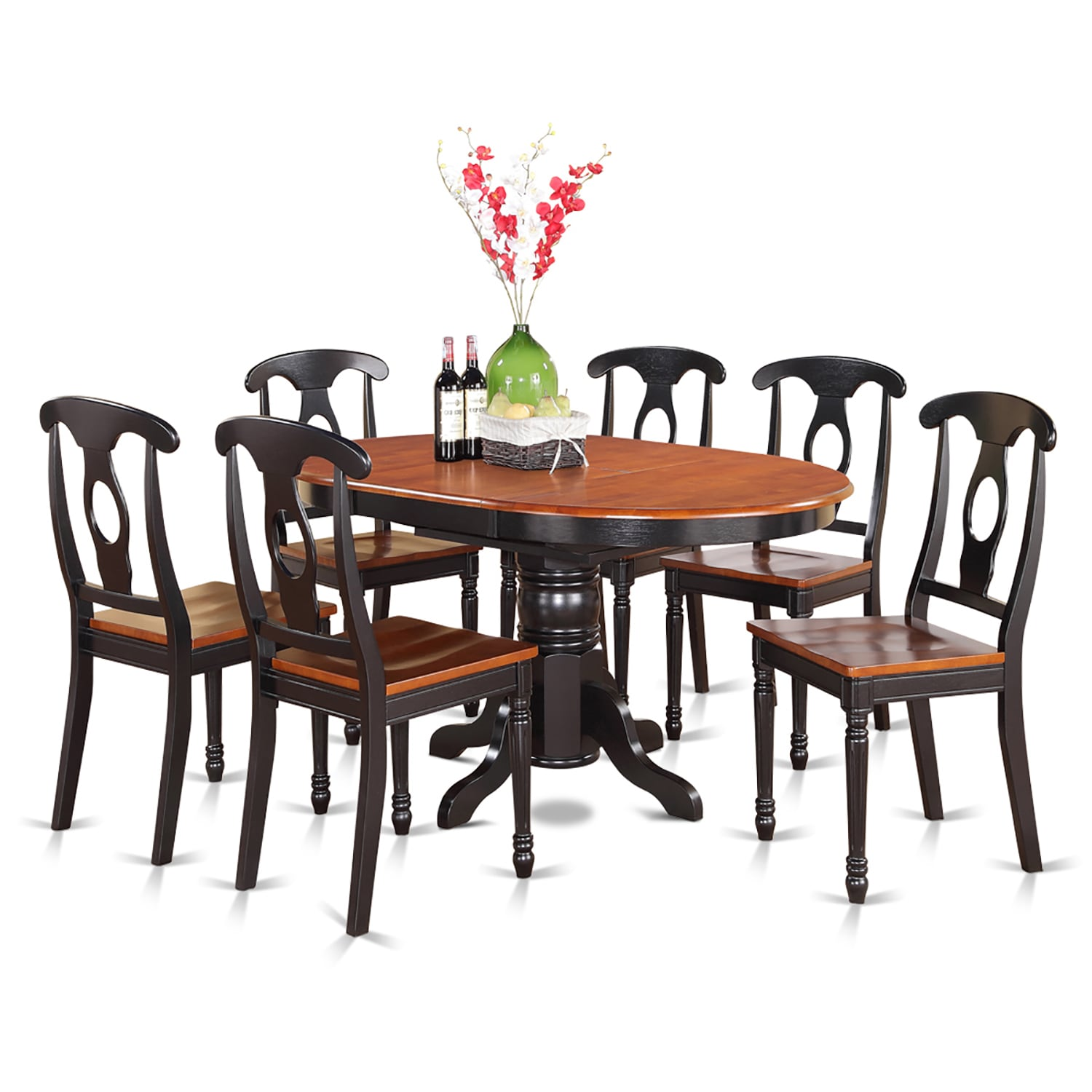 7-piece Pedestal Oval Dining Table and 6 Dining Chairs